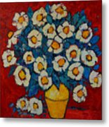 Abstract Wild White Roses Original Oil Painting Metal Print
