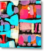 Abstract Wine Bottles Blue Red Metal Print