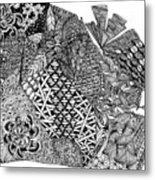 Abstract Zentangle Inspired Design In Black And White Metal Print