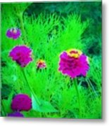 Abstract Zinnias In Green And Pink Metal Print