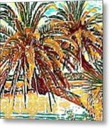 Abstracted Loop Palms Metal Print