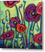 Abstracted Poppies Metal Print