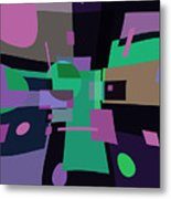 Abstraction In Bent Squares Metal Print