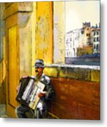 Accordeonist In Florence In Italy Metal Print
