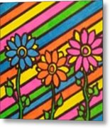 Aceo Abstract Flowers Metal Print