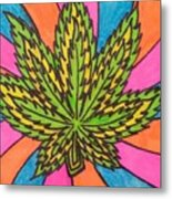 Aceo Cannabis Abstract Leaf  Metal Print