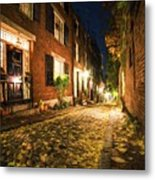 Acorn Street Autumn Boston Mass Painterly Metal Print