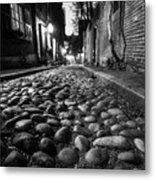 Acorn Street Cobblestone Detail Boston Ma Black And White Metal Print
