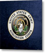 Acquisition Corps - A A C Branch Insignia Over Blue Velvet Metal Print
