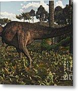 Acrocanthosaurus Dinosaur Roaming Metal Print