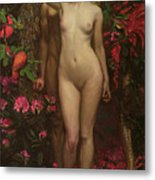 Adam And Eve With The Snake Metal Print