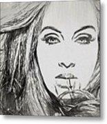 Adele Charcoal Sketch Metal Print