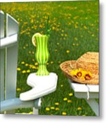 Adirondack Chair On The Grass  Metal Print