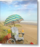 Adirondack Chair With Bicycle And Umbrella By The Seaside Metal Print
