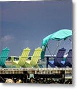 Adirondack Chairs At Coyaba Mahoe Bay Jamaica. Metal Print