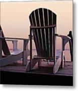 Adirondack Chairs Dockside At Lavender Haze Twilight Metal Print