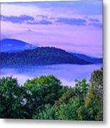 Adirondack Mountains In Fog Metal Print