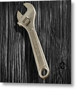 Adjustable Wrench Over Black And White Wood 72 Metal Print