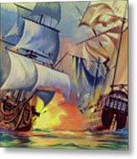 Admiral Hood's Fleet In The West Indies Metal Print