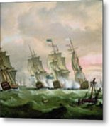 Admiral Sir Edward Hawke Defeating Admiral De Conflans In The Bay Of Biscay Metal Print by Thomas Luny