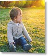 Adorable Baby Playing Outdoors Metal Print