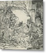 Adoration Of The Shepherds, With Lamp Metal Print