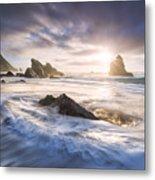 Adraga Surf Metal Print