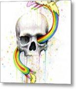 Adventure Time Skull Jake Finn Lady Rainicorn Watercolor Metal Print by Olga Shvartsur
