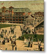 Aerial Birds Eye View Of Long Beach Pier And Beachfront California Circa 1895 Metal Print