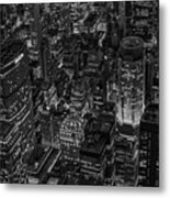 Aerial New York City Skyscrapers Bw Metal Print
