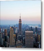 Aerial Night View Of Manhattan Skyline In New York Metal Print