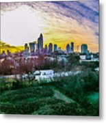 Aerial Of Charlotte North Carolina Skyline Metal Print