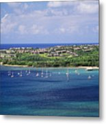 aerial of  Hanalei Bay and Princeville Resort Metal Print