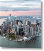 Aerial Of Lower Manhattan Peninsula At Sunset, New York, Usa Metal Print