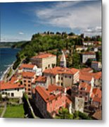 Aerial Of Piran Slovenia On Gulf Of Trieste Adriatic Sea With St Metal Print