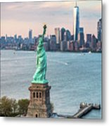 Aerial Of The Statue Of Liberty At Sunset, New York, Usa Metal Print