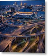 Aerial Of The Superdome In The Downtown Metal Print