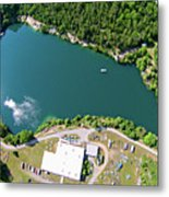 Aerial Over Blue Stone Quarry In North Carolina Metal Print