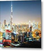 Aerial Panorama View Of Dubai By Night Metal Print