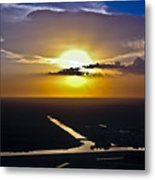Aerial Sunset Over Canal Metal Print