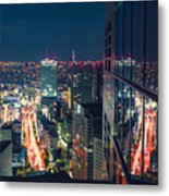 Aerial View Cityscape At Night In Tokyo Japan From A Skyscraper Metal Print