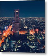 Aerial View Cityscape At Night In Tokyo Japan Metal Print