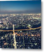 Aerial View Cityscape At Night Metal Print