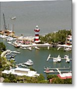 Aerial View Harbour Town Lighthouse In Hilton Head Island Metal Print