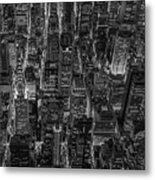 Aerial View Midtown Manhattan Nyc Bw Metal Print