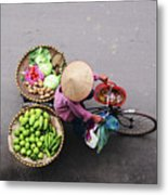 Aerial View Of A Vietnamese Traditional Seller On The Bicycle With Bags Full Of Vegetables Metal Print