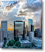 Aerial View Of Charlotte City Skyline At Sunset Metal Print