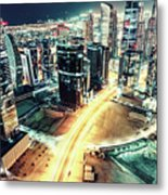 Aerial View Of Dubai's Business Bay At Night. Metal Print