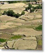 Aerial View Of Green Ladakh Agricultural  Landscape Metal Print
