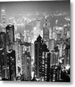 Aerial View Of Hong Kong Island At Night From The Peak Hksar China Metal Print